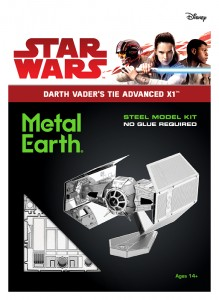 Metal Earth Star Wars Darth Vader's TIE Advanced X1 Starfighter model do składania metalowy.